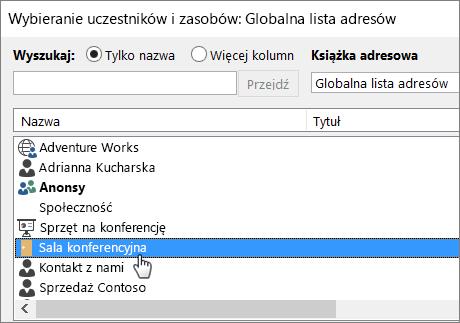Rezerwowanie skrzynki pocztowej pokoju w programie Outlook