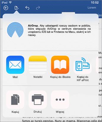 Okno dialogowe Otwórz w innej aplikacji umożliwia wysłanie dokumentu do innej aplikacji w celu przesłania go pocztą e-mail, wydrukowania lub udostępnienia.