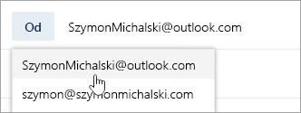 Zrzut ekranu przedstawiający menu rozwijane adresów Od.