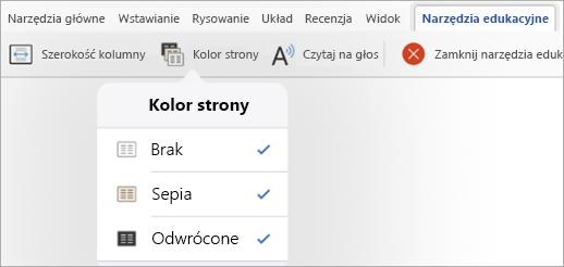 Opcje koloru strony dla dodatku Narzędzia edukacyjne