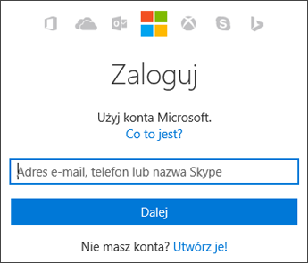 Zrzut ekranu przedstawiający stronę logowania Moje konto, na której wprowadza się konto Microsoft używane z pakietem Office