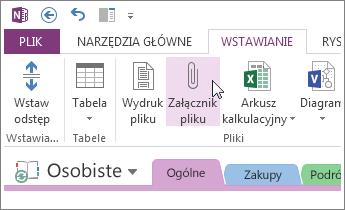 Aby umieścić kopię pliku w programie OneNote, wstaw załącznik z plikiem