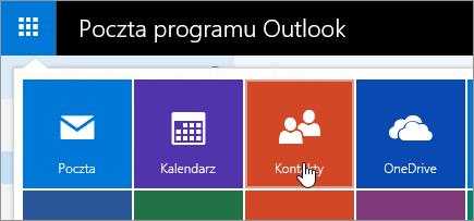 Zrzut ekranu przedstawiający Kafelek kontakty w obszarze Uruchamianie aplikacji.