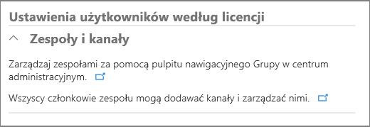 Ustawienia użytkowników według licencji