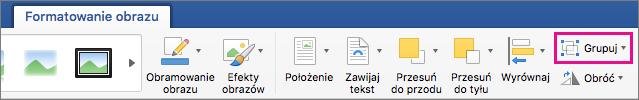 Aby utworzyć grupę zaznaczonych obrazów lub obiektów, kliknij pozycję Grupuj.