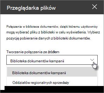 Okienko właściwości przeglądarka plików z listą rozwijaną Połącz z źródłem