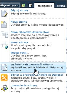 Wyświetlanie całej zawartości witryny w menu Akcje witryny
