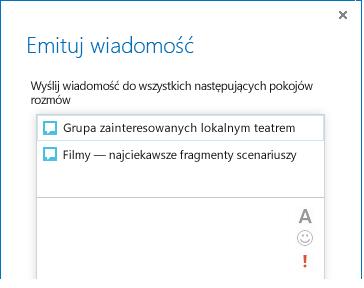 Zrzut ekranu przedstawiający górną część okna dialogowego Emitowanie wiadomości.