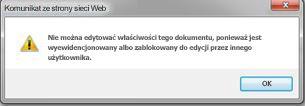 Komunikat z informacją, że plik jest zablokowany przez inną osobę