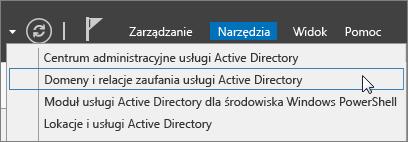 Wybieranie domen i relacji zaufania usługi Active Directory.