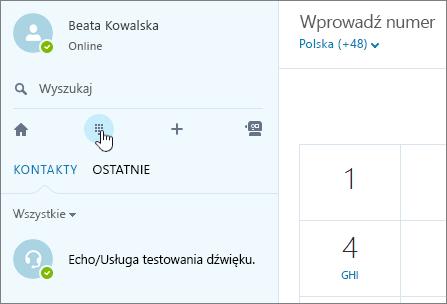 Zrzut ekranu przedstawiający miejsce, w którym można nawiązać połączenie telefoniczne za pomocą programu Skype