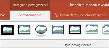 Przedstawia obszar Narzędzia powiększenia na karcie Formatowanie wstążki w programie PowerPoint.
