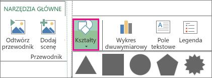 Przycisk Kształt na karcie Narzędzia główne dodatku Power Map