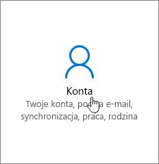 W oknie Ustawienia systemu Windows wybierz opcję Konta
