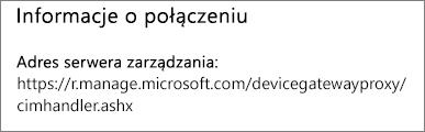 Strona Zarządzane przez zawiera informacje o połączeniu adresu URL menedżera urządzenia.