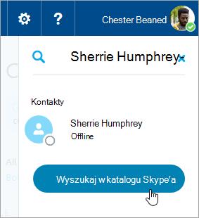 Zrzut ekranu przedstawiający pole wyszukiwania w okienku Skype