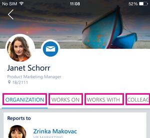 Strona osoby w aplikacji Delve dla telefonu iPhone