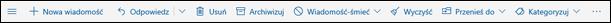 Pasek narzędzi wiadomości usługi Outlook.com