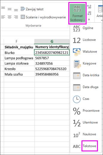 Stosowanie formatu tekstowego do liczb