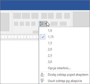Opcje pozwalające na zmianę odstępów między wierszami w programie Word
