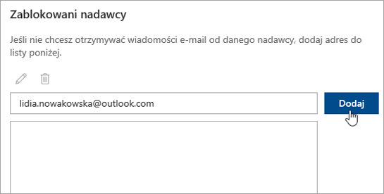 Zrzut ekranu przedstawiający pole Zablokowani nadawcy