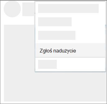 Zrzut ekranu przedstawiający, jak zgłaszać abuse w usłudze OneDrive