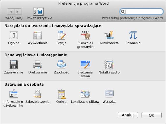 Preferencje programu Word