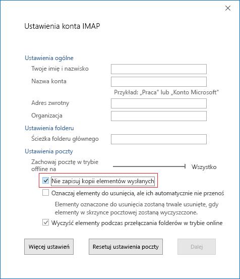 Ustawienia konta IMAP, Nie zapisuj kopii elementów wysłanych