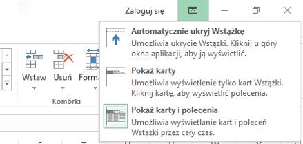 Po kliknięciu ikony Opcje wyświetlania Wstążki zostanie otwarte menu.