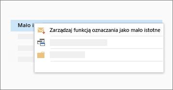 Koncepcyjny zrzut ekranu funkcji mało istotne