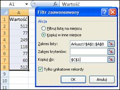 Stosowanie filtru zaawansowanego do zakresu danych