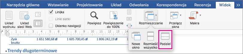 Kliknij przycisk Podziel w celu podziału okna programu Word na dwa widoki tego samego dokumentu.