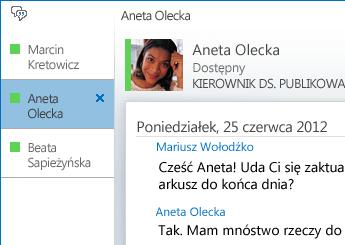 Zrzut ekranu: konwersacja na karcie