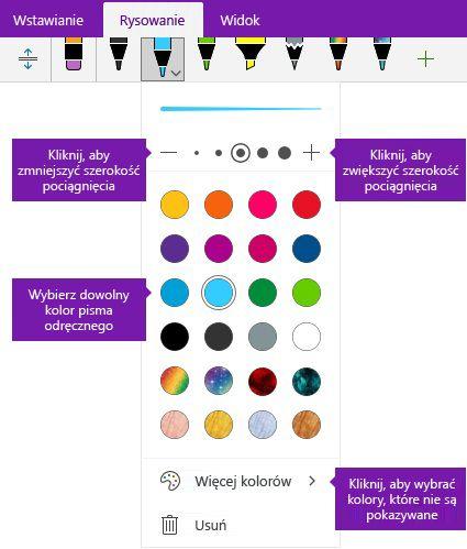 Pismo odręczne pociągnięcia szerokości i opcje koloru w programie OneNote dla systemu Windows 10