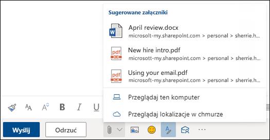 DoŁączanie plików z wyświetlonymi sugerowanymi załącznikami
