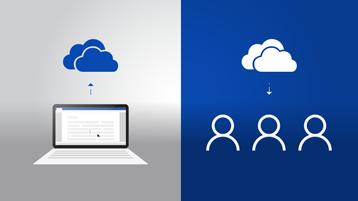Po lewej stronie laptop z dokumentem i strzałką w górę wskazującą logo usługi OneDrive, po prawej stronie logo usługi OneDrive ze strzałką w dół wskazującą trzy symbole osób