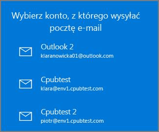 Wybierz konto, z którego chcesz wysłać wiadomość e-mail