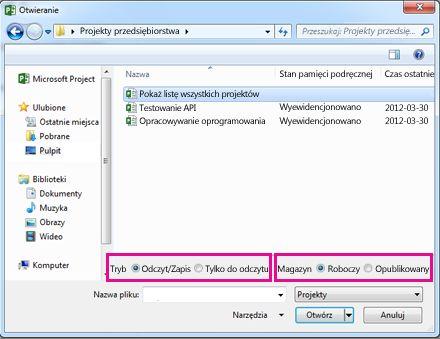 Okno dialogowe Otwieranie zawierające pliki aplikacji Project Web App