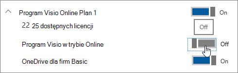 Umożliwia przełączenie się do Przypisywanie lub usuwanie licencji dla programu Visio w trybie Online.