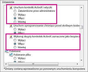 Zezwalanie na ładowanie i uruchamianie kontrolek ActiveX w programie Internet Explorer