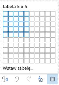 Siatka tabeli w aplikacji Outlook w sieci Web.