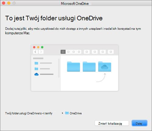 Zrzut ekranu przedstawiający stronę To jest folder usługi OneDrive w kreatorze OneDrive — Zapraszamy! na komputerze Mac