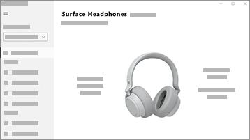 Zrzut ekranu przedstawiający aplikację Surface Audio wraz ze słuchawkami Surface Headphones