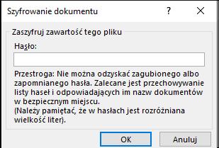 Okno dialogowe Szyfrowanie dokumentu