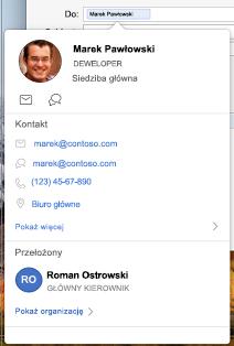 Wizytówka w kalendarzu programu Outlook