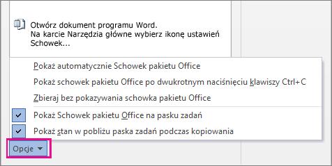 Opcje Schowka w programie Word 2013