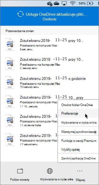 Zrzut ekranu przedstawiający ustawianie preferencji osobistych usługi OneDrive