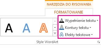 Grupa Style tekstu WordArt na karcie Narzędzia do rysowania > Formatowanie