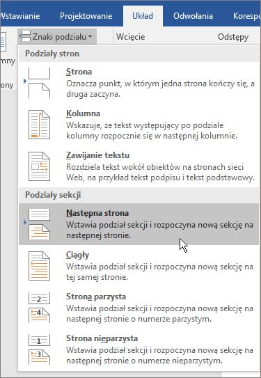 Opcje podziałów na karcie Układ.