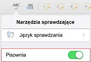 Włączanie sprawdzania pisowni